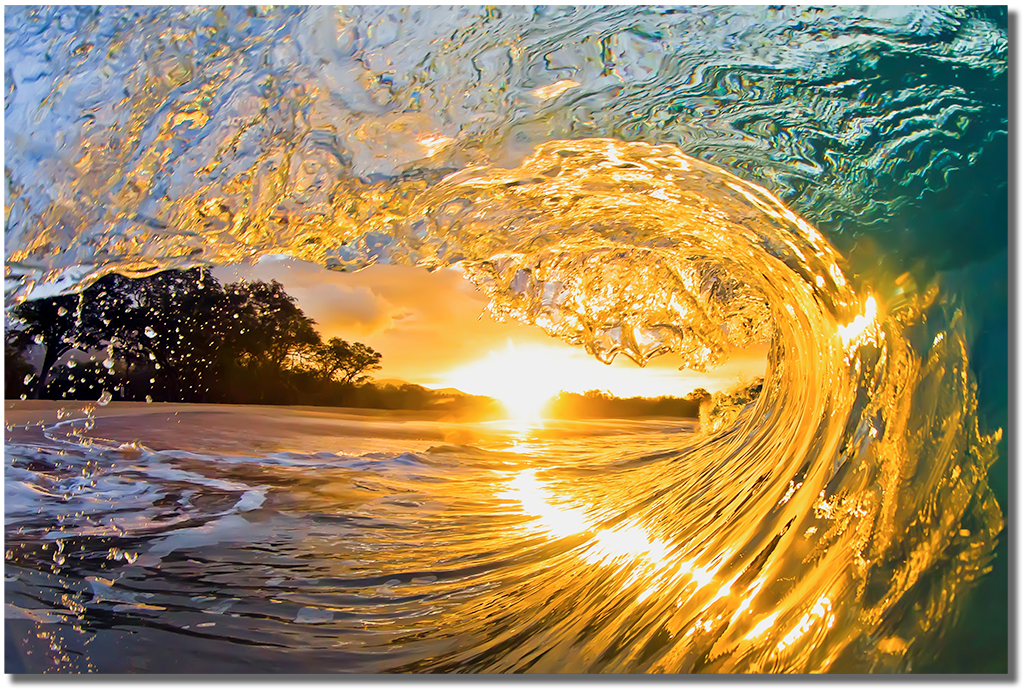 "Sunset With Sea Wave Tap To See More Breathtaking Beach: ""Sunrise Barrel"" In South Maui, Hawaii By Mark Middleton"